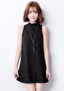 高雅削肩針織洋裝