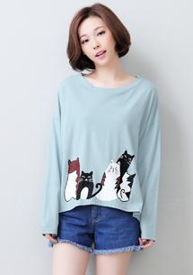 可愛萌貓寬版棉質上衣