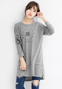 個性韓風印花長版上衣
