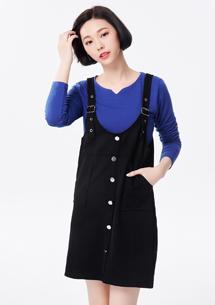 韓風潮流排釦設計吊帶裙