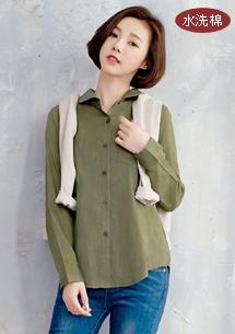 單口袋水洗竹節棉襯衫