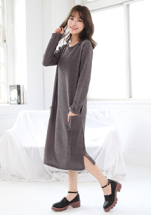 【限三天$219】韓妞潮流坑條針織長上衣