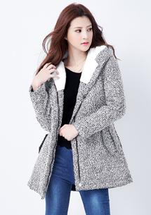 暖感時尚混色縮腰外套