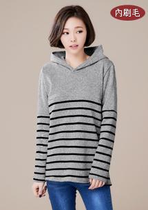 暖意內刷毛針織條紋上衣