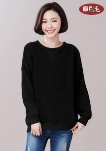 韓系簡約厚棉刷毛大學T