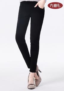 纖腿顯瘦柔彈磨毛窄管褲