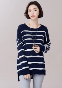 愜意美學條紋針織毛衣