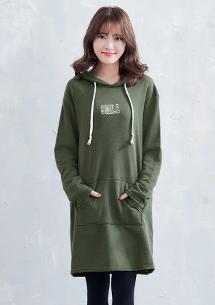 韓系刺繡字母厚棉上衣