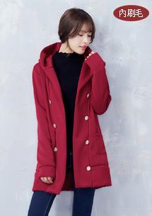 時尚溫暖內刷毛連帽外套