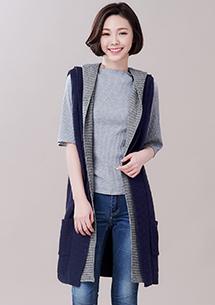 韓系風格雙色針織外套