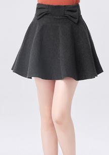 甜美蝴蝶結毛呢褲裙