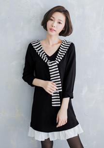 韓品學院風條紋披肩洋裝