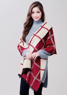 雙面配色方格羊絨圍巾