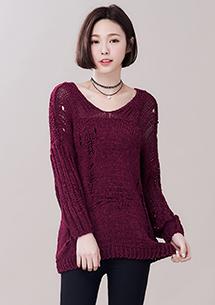 甜美休閒鏤空針織毛衣