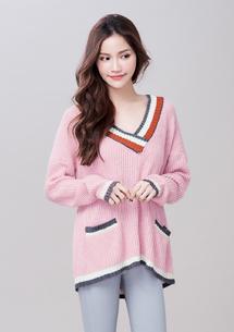 學院風V領配色針織毛衣