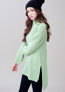 簡約立領開衩針織毛衣