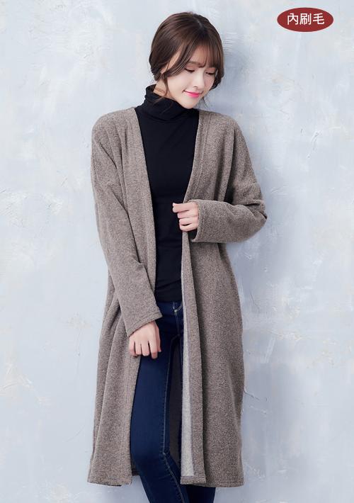 韓妞保暖圈圈絨長版外套