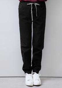 韓版織帶縮口休閒長褲