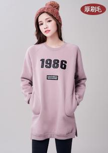 韓版1986厚刷毛長上衣