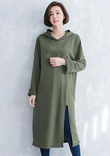 韓風開叉厚棉長版上衣
