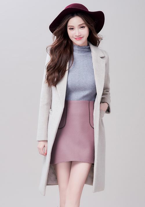 韓版質感毛呢大衣外套