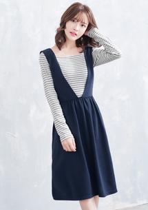 兩件式條紋厚棉洋裝
