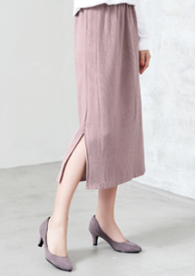 簡約知性壓摺側開衩長裙