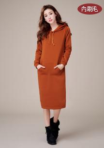 純漾素雅內刷毛長洋裝