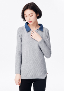 假兩件棉柔開衩設計襯衫