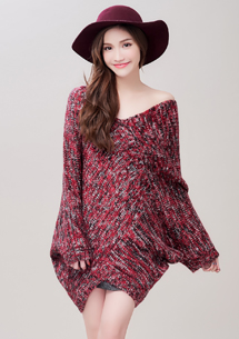 優雅色調V領針織毛衣