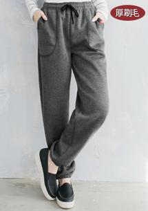 休閒舒適厚刷毛棉褲