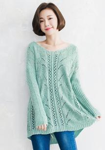 唯美鏤空雕花針織毛衣