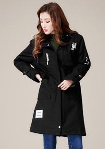 韓式風潮舖棉連帽長外套