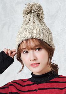 韓系俏皮毛球反摺毛帽