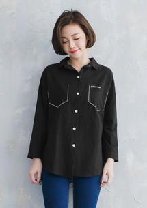 經典元素黑白色線襯衫