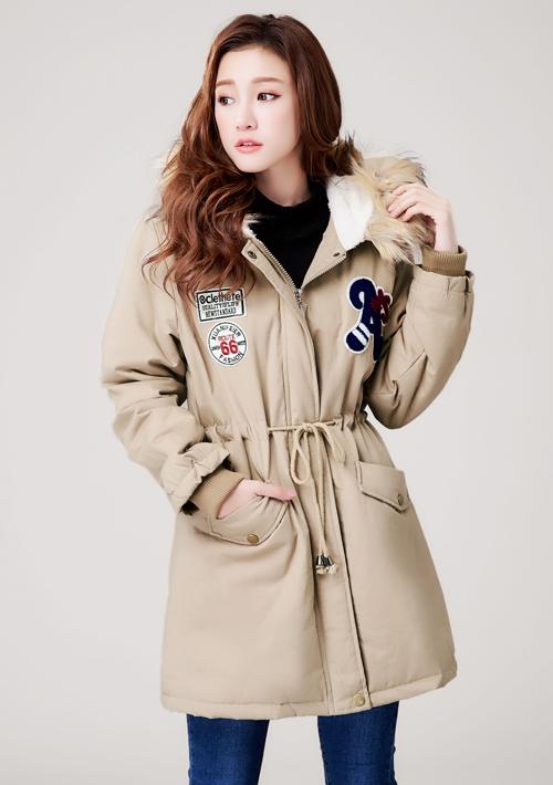個性徽章禦寒鋪棉外套