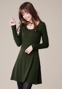 +5度發熱洋裝-墨綠