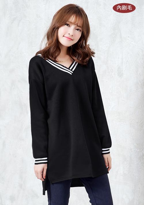 韓版活力內刷毛V領上衣