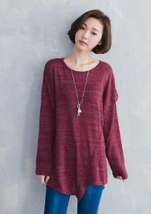 韓式設計斜擺針織上衣