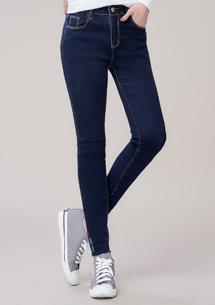 極彈舒適刺繡窄管牛仔褲