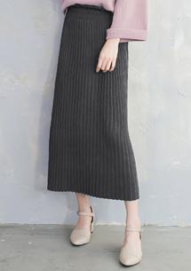 韓品輕熟細百摺針織長裙