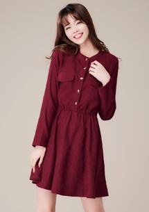 經典韓系排釦縮腰洋裝