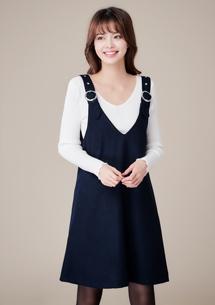 韓版簡約毛呢吊帶裙