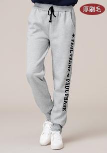 韓風字母厚刷毛束口褲