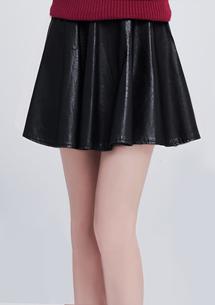 個性時尚拉鍊傘擺皮裙