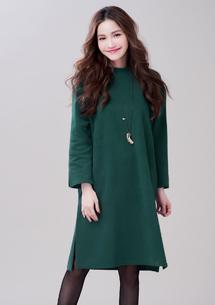 韓版簡約厚暖側開叉洋裝