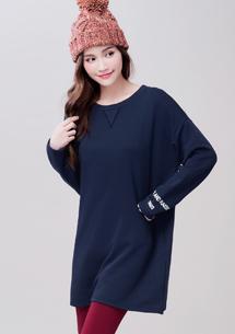 韓版印花袖厚棉長版上衣