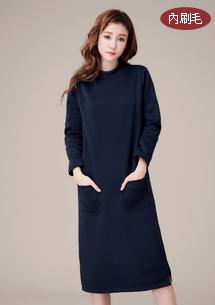 簡單小高領內刷毛長洋裝