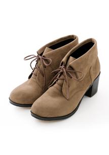 質感綁帶麂皮粗跟踝靴
