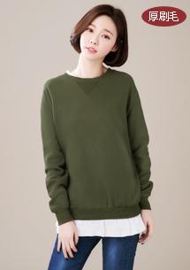韓式假兩件厚刷毛上衣